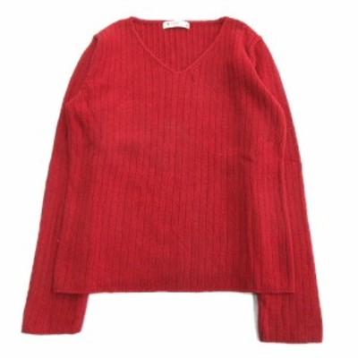 【中古】ビームスハート BEAMS HEART Vネック ニット セーター カットソー ウール混 長袖 赤 レッド レディース▼5