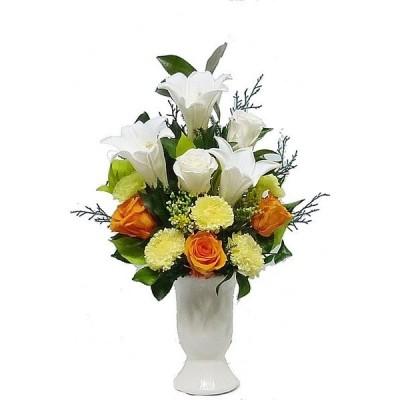 【仏花倶楽部】のプリザーブドフラワー仏花251 【清楚な花器付き】