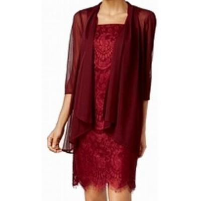 Red  ファッション ドレス R&M Richards NEW Merlot Red Womens 12 Sleeveless Lace Sheath Dress