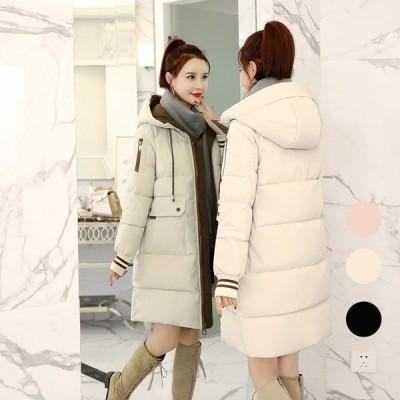 中綿コート レディース ロングコート ダウン コットン 綿入れ 冬服 フード付き カジュアル オシャレ アウター 防寒着 暖かい 大きいサイズ