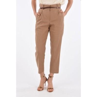 BRUNELLO CUCINELLI/ブルネロクチネリ Brown レディース Single Pleat High Waist Pants with Leather Belt dk