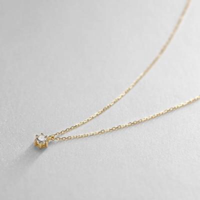 ココシュニック COCOSHNIK K18ダイヤモンド 6本爪 ネックレス (イエローゴールド)