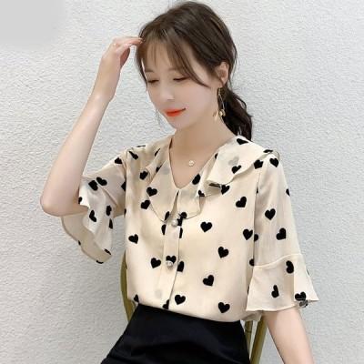 高校生 中学生 ファッション トップス レディース ファッション 半袖 夏 シャツ ブラウス チュニック おしゃれ かわいい 韓国 20代 30代 40代 6254a