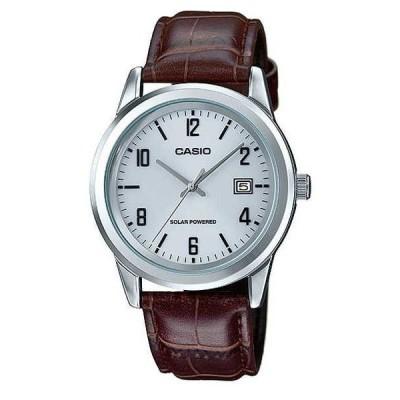 腕時計 カシオ Casio MTP-VS01L-7B2 メンズ スタンダード ソーラー レザー バンド グレー ダイヤル デート 腕時計