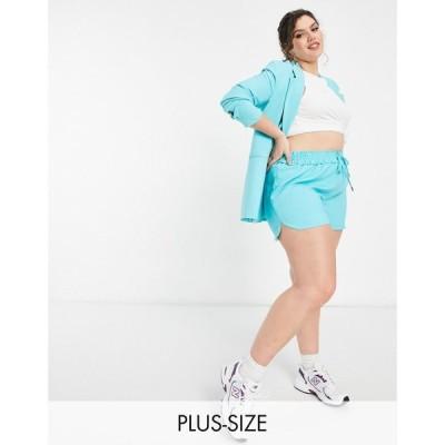 リバーアイランド River Island Plus レディース ショートパンツ ボトムス・パンツ tailored runner co-ord shorts in aqua blue アクアブルー
