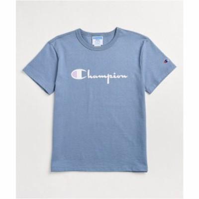 チャンピオン CHAMPION レディース ベアトップ・チューブトップ・クロップド Tシャツ トップス Champion Heritage Script Blue Crop T-Sh