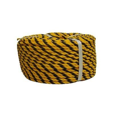 まつうら工業 立入禁止標示用 標識ロープ(H) #9-100 太さ約8mm 長さ約100m (トラ柄)