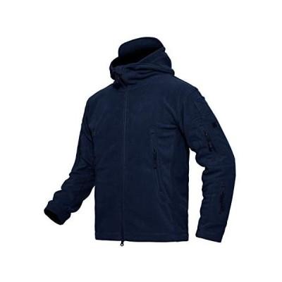 MAGCOMSEN フリースジャケット メンズ ミリタリー パーカー 防寒着 軽量 アウトドア 作業 サバゲー ルームウエア (ネイビー M)