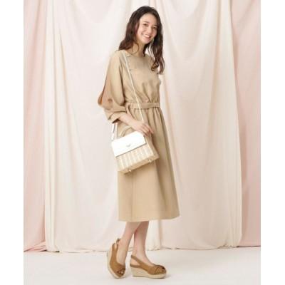 Couture Brooch/クチュールブローチ 【WEB限定(LL)サイズあり/洗える】リネンライク袖デザインワンピース ベージュ(052) 36(S)