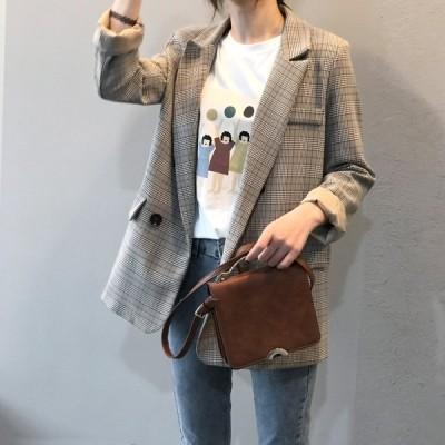 テーラードジャケット カジュアル 格子柄 アウター スーツジャケット 大人かわいい 体型カバー 個性的