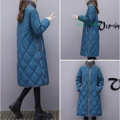 リブネックでしっかり暖かいキルティング 防寒 暖かくアウター 韓国ファッション ロング中綿 タートルネック ロングアウター コート