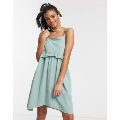 エイソス ミディドレス レディース ASOS DESIGN square neck frill seam mini dress in sage エイソス ASOS