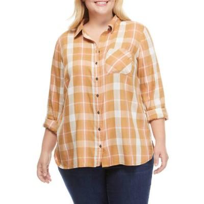 トゥルー クラフト レディース シャツ トップス Plus Size Button Down Shirt