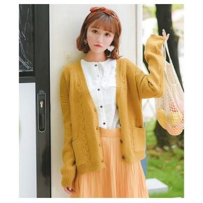 セーターニットカーディガンコートレディースファッション女性前開きVネックカーデケーブル編み優しい印象デートに女子力up