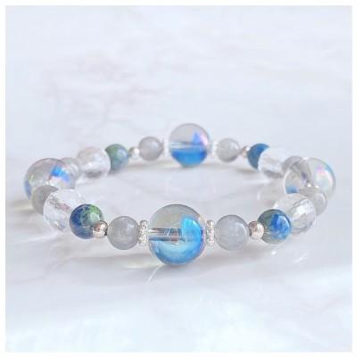 *〈112〉【想像力や潜在能力を開花する】天然石 パワーストーンブレスレット 数珠 ブレスレット アクアオーラ・ラブラドライト