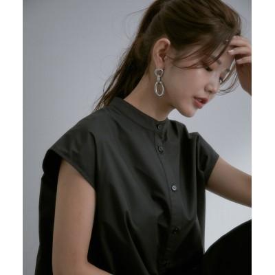 ビス/【vis-`a-vis】バンドカラーシャツワンピース/ブラック/S