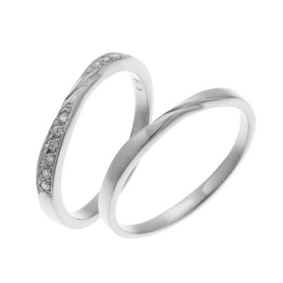 ペアリング シルバー925 プラチナ仕上げ ダイヤモンド ねじり ひねり マリッジリング 結婚指輪 沖縄製