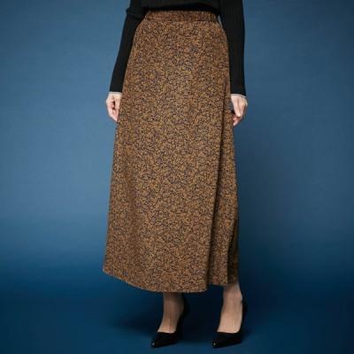 ベルメゾン ナロースカート[日本製] キャメル×ネイビー(プリント) 61-89 64-91 67-93 70-95 73-99