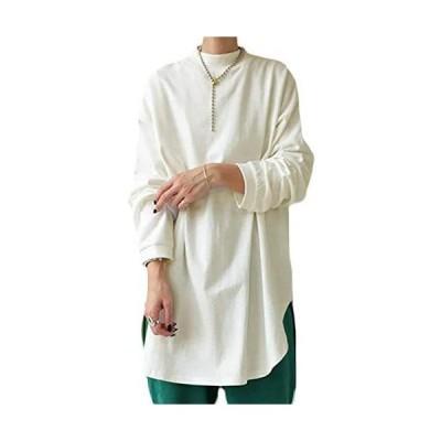 [アンティカ] Tシャツ ハイネック コットンT ロンT レディース トップス 長袖 OA-00003(03 オフホワイト Free Size)