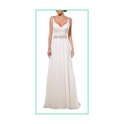 YIPEISHA V Neck Shoulder Straps Soft Ruching Chiffon Wedding Gown 12 White並行輸入品