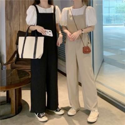 セットアップ 2点セット トップス サロペット オールインワン パフスリーブ 韓国ファッション 大人可愛い