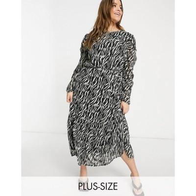 ミスガイデッド ドレス 大きいサイズ レディース Missguided Plus midi smock dress with puff sleeves in zebra print エイソス ASOS ブラック 黒