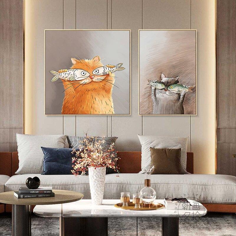 簡約餐廳裝飾畫北歐風貓咪可愛掛畫民宿簡裝墻畫餐館酒店兩聯壁畫