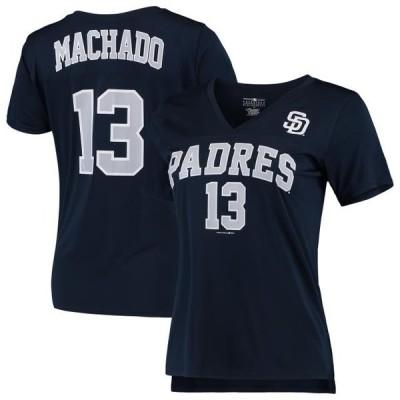 レディース スポーツリーグ メジャーリーグ Women's 5th & Ocean by New Era Manny Machado Navy San Diego Padres Name & Number V-Neck T