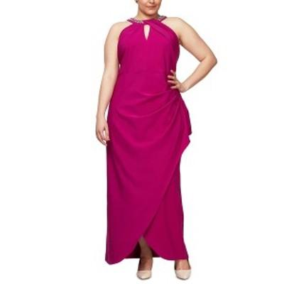 エス エル ファッションズ レディース ワンピース トップス Plus Size Embellish Halter Gown Fuchsia Pink