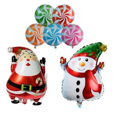 クリスマス バルーン 風船 セット サンタ 雪だるま 5色 キャンディ ホームパーティー