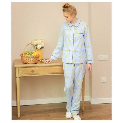 パジャマ レディース ルームウエア 長袖 前開き ロングパンツ シャツパジャマ 可愛い 部屋着 寝巻き 冷房対応 韓国風 襟付き コットン100% 上下2点セット ギフト