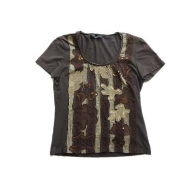 【中古】マックスマーラ ウィークエンドライン MAX MARA WEEKEND LINE パッチワーク Tシャツ 総柄 カットソー スパンコール M 茶 レディース 【ベクトル 古着】