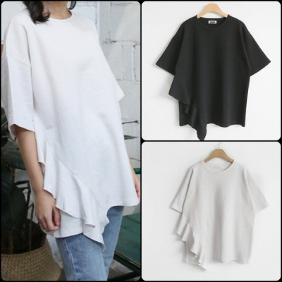 カジュアル系フリルが可愛い半袖Tシャツ 無地 ラウンドネック シンプルデザイン こなれ感 夏 お出かけに