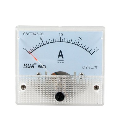 uxcell 電流計 アナログアンペアメーター 微調整 ダイヤルパネル DC 0-20A