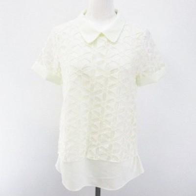 【中古】チーキー cheeky 花柄 フラワー 半袖 シャツ ブラウス ONE 白系 オフホワイト シースルー 透け感 レース 刺繍