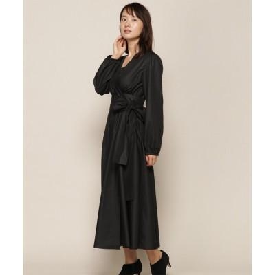 【アンドクチュール】 ビックリボン2wayカシュクール長袖ワンピース レディース ブラック M And Couture