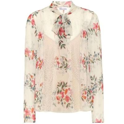 レッド ヴァレンティノ REDValentino レディース ブラウス・シャツ トップス Floral lace-trimmed blouse Latte