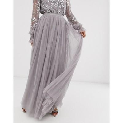ニードルアンドスレッド レディース スカート ボトムス Needle & Thread dotted tulle maxi skirt in gray