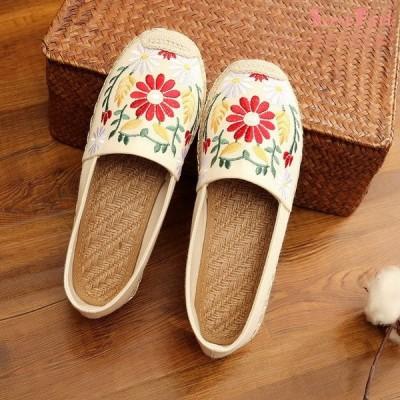 エスパドリーユ レディース スリッポン シューズ 花柄 刺繍 ジュート巻き ペタンコ 靴 フラットシューズ 軽量 フラワー