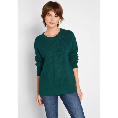 モドクロス ModCloth レディース ニット・セーター トップス count on it cable knit sweater green
