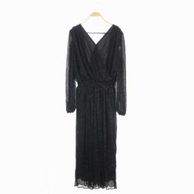 【中古】未使用品 エステラケー Gemma Open Back Dress スパーククレープドレス ワンピース 長袖 F 黒 レディース