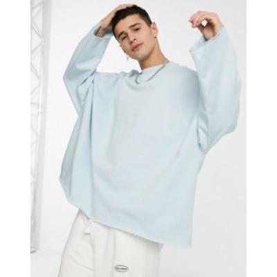 エイソス メンズ シャツ トップス ASOS DESIGN extreme oversized raw hem sweatshirt in pastel blue Winter sky