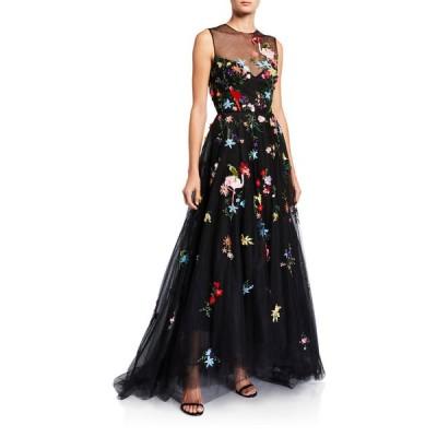 モニークルイリエ レディース ワンピース トップス Floral-Embroidered Tulle Illusion Gown