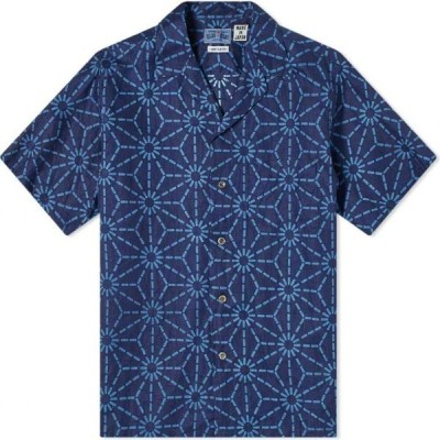 ブルーブルージャパン Blue Blue Japan メンズ 半袖シャツ トップス Asanoha Pattern Vacation Shirt Indigo