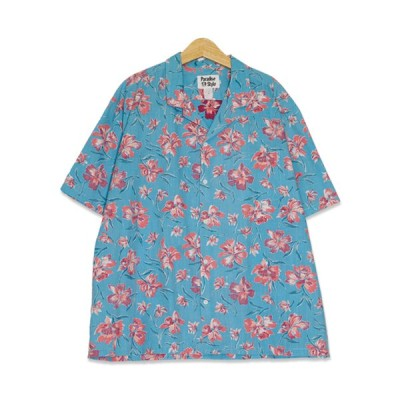 ハワイ製 Paradise Style リバースプリント ハイビスカス柄 半袖 アロハシャツ メンズXXXLサイズ ターコイズブルー 開襟 ユーズド 古着 s200703-32