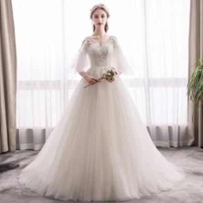 ウェディングドレス Vネック aラインドレス トレーン ウエディングドレス 撮影 二次会 花嫁 パーティードレス 披露宴 ブライダル 結婚式
