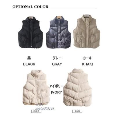 ベスト レディース 秋冬 アウター ジャケット 羽織 ダウンベスト ハイネック 大きいサイズ 防寒 中綿 スタンドカラー フェイク