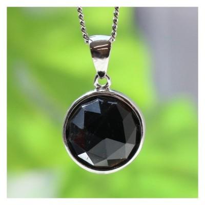 黒水晶ラウンド型シルバーペンダントトップ中 天然石 パワーストーン アクセサリー ネックレス  メール便可