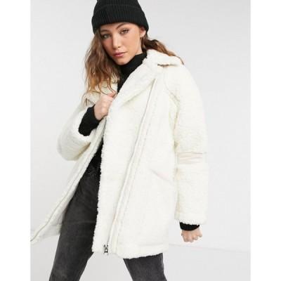 トップショップ Topshop レディース ジャケット アウター faux shearling jacket in white ブラック