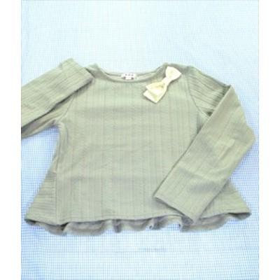 アー・ヴェ・ヴェ a.v.v 長袖Tシャツ ペプラム 130cm グレー系 トップス リボン パール 女の子 キッズ 子供服 通販 買い取り